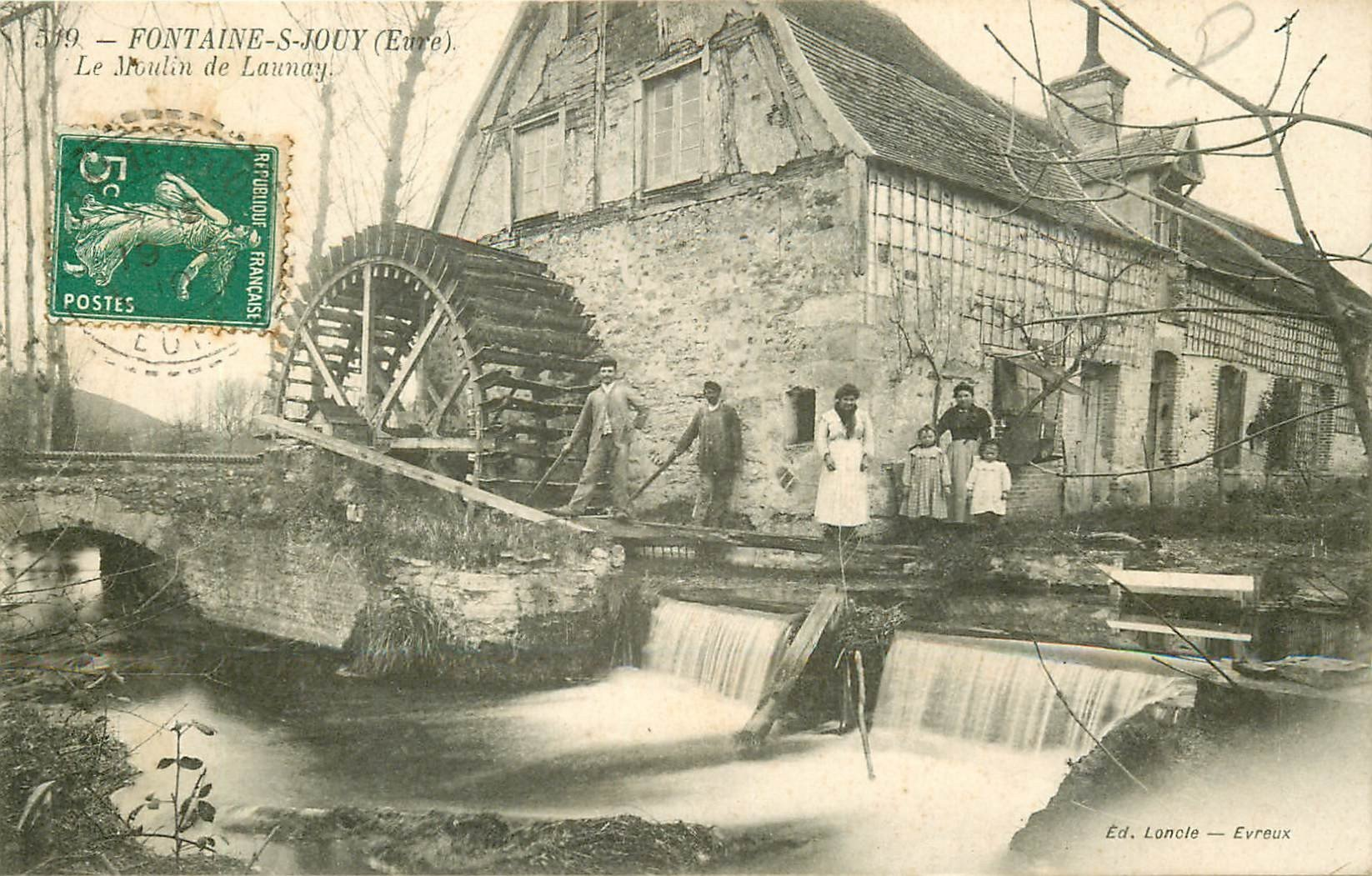 27 fontaine sous jouy le moulin eau de launay 1910 avec meuniers et cluse. Black Bedroom Furniture Sets. Home Design Ideas
