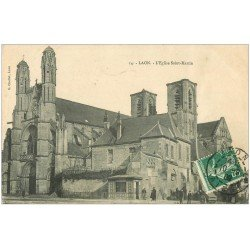 carte postale ancienne 02 LAON. Eglise Saint-Martin 1909 (légèrement gondolée)...