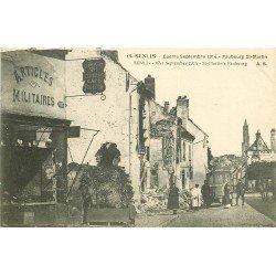 60 SENLIS. Tramway et Café Restaurant au Bon Coin Faubourg Saint Martin bombardé. Guerre 1914