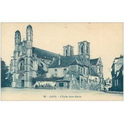 carte postale ancienne 02 LAON. Eglise Saint-Martin 1937. timbre Tuberculose