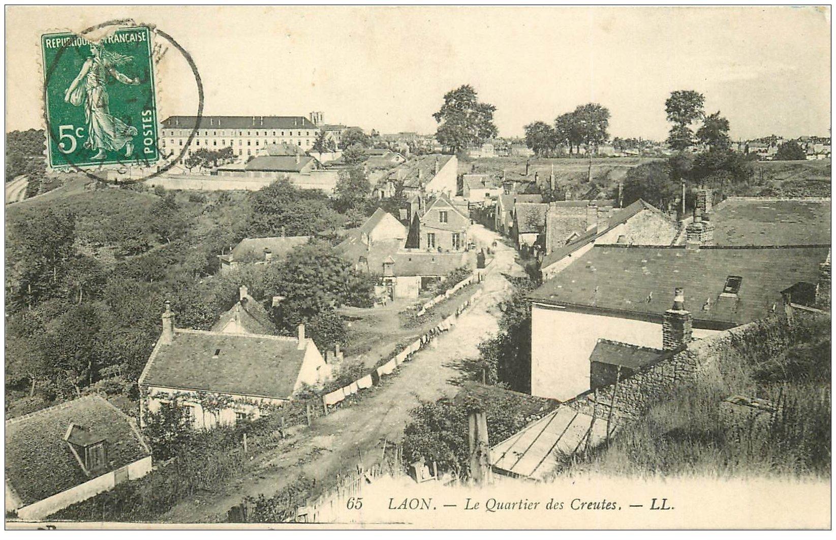 02 laon le quartier des creutes 1912 for Code postal laon 02
