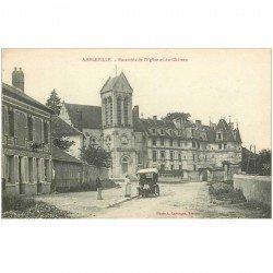 carte postale ancienne 95 AMBLEVILLE. Voiture ancienne devant Café de la Mairie Restaurant Baudot Epicerie. Eglise et Château