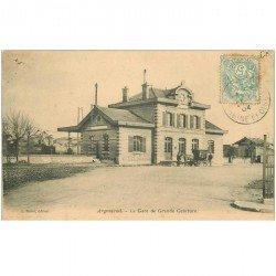 carte postale ancienne 95 ARGENTEUIL. La Gare de Grande Ceinture 1904 (un trou de punaise)...