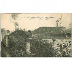 carte postale ancienne 95 AUVERS SUR OISE. La Pêche à la ligne à Chaponval 1923. Timbre absent