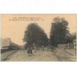 carte postale ancienne 95 AUVERS-SUR-OISE. Carrefour de la Route d'Hérouville. Edition Malcuit