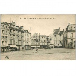 carte postale ancienne 95 PONTOISE. Café du Marché Place du Grand Martroy 1938 Familistère