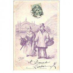 carte postale ancienne 95 PONTOISE. Couple de Paysans vendeurs 1904