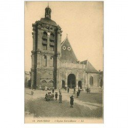 carte postale ancienne 95 PONTOISE. Eglise Notre Dame animation