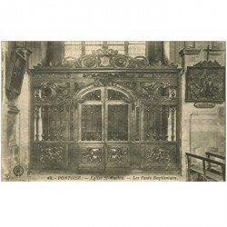 carte postale ancienne 95 PONTOISE. Eglise Saint Maclou Fonts Baptismaux