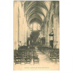 carte postale ancienne 95 PONTOISE. Eglise Saint Maclou intérieur vers 1900