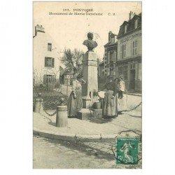 carte postale ancienne 95 PONTOISE. Femmes à la Fontaine Monument de Maria Deraisme 1911