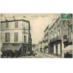 carte postale ancienne 95 PONTOISE. La Rue de Rouen Tabac et Epicerie 1916