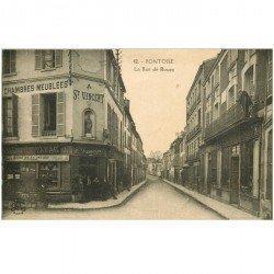 carte postale ancienne 95 PONTOISE. La Rue de Rouen Tabac Hôtel