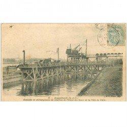 carte postale ancienne 95 ARGENTEUIL.Charbon Usine des Eaux Ville de Paris 1905 attelages grues et vagonnets