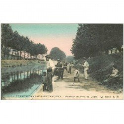 carte postale ancienne 94 CHARENTON LE PONT. Pêcheurs au bord du Canal