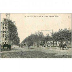 carte postale ancienne 94 CHARENTON LE PONT. Chevaux Rue de Paris et Place des Ecoles (Cocolat Louit)