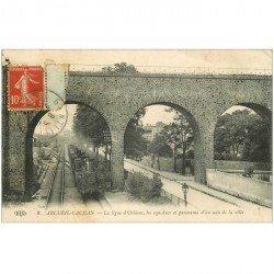 carte postale ancienne 94 ARCUEIL CACHAN. Train ligne d'Orléans sous les Aqueducs 1914 Locomotive à vapeur