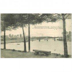 carte postale ancienne 94 ALFORVILLE. Le Pont d'Ivry 1922