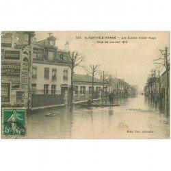 carte postale ancienne 94 ALFORVILLE. Crue 1910. Les Ecoles Victor Hugo
