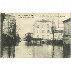 carte postale ancienne 94 ALFORVILLE. Crue 1910. Le Rond Point et rue de Villeneuve
