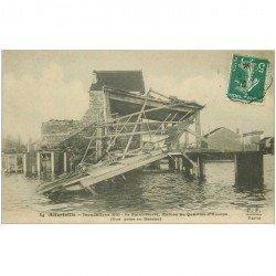 carte postale ancienne 94 ALFORVILLE. Crue 1910. Ile Saint Pierre Ruines du Quartier d'Europe