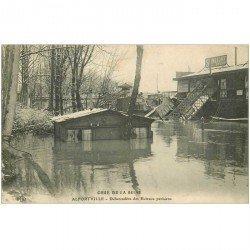 carte postale ancienne 94 ALFORVILLE. Crue 1910. Débarcadère des Bateaux parisiens