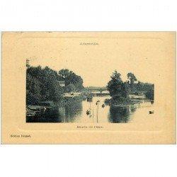carte postale ancienne 94 ADAMVILLE. Péniche et Pêcheurs sur la Marne 1922