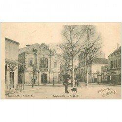 carte postale ancienne 94 ADAMVILLE. Le Théâtre 1903 Magasin chocolat Vinay et vespasiennes