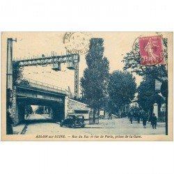 carte postale ancienne 94 ABLON SUR SEINE. Rues du Bac et de Paris près de la Gare 1935
