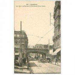 carte postale ancienne K. 92 ASNIERES SUR SEINE. Les deux voûtes Boulevard Saint-Denis Fleuriste et Cafév