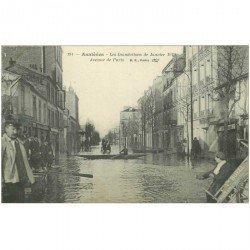 carte postale ancienne Inondation et Crue de 1910. ASNIERES 92. Avenue de Paris