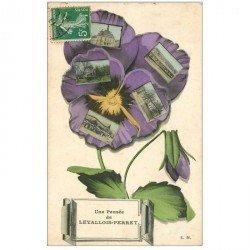 carte postale ancienne 92 LEVALLOIS PERRET. Une Pensée multivues 1909
