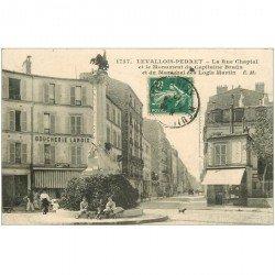 carte postale ancienne 92 LEVALLOIS PERRET. Boucherie Lanoix rue Chaptal 1912