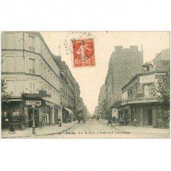 carte postale ancienne 92 CLICHY. Rue de Paris et Boulevard Victor Hugo 1911 Café à la Gentiane