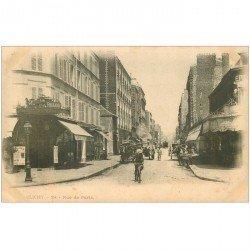 carte postale ancienne 92 CLICHY. Rue de Paris Café Richard vers 1900