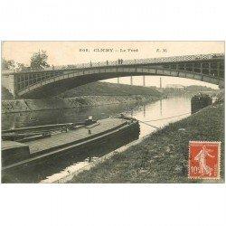 carte postale ancienne 92 CLICHY. Péniches sous le Pont 1909