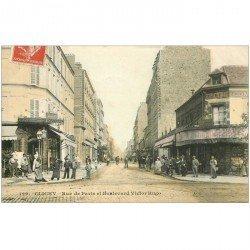 carte postale ancienne 92 CLICHY. Epicerie et buvette Richard Rue de Paris et Boulevard Victor Hugo 1909