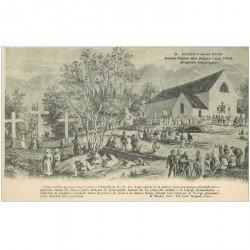 carte postale ancienne 92 CLICHY. Chapelle Notre Dame des Anges d'après Daubigny avec Pélerins