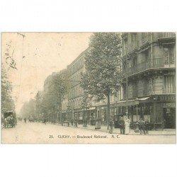 carte postale ancienne 92 CLICHY. Café du Commerce Boulevard National 1907
