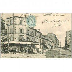 carte postale ancienne 92 CLICHY. Attelage livraison de boissons sur la rue du Bois 1905