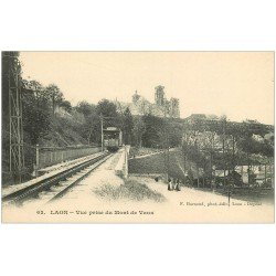 carte postale ancienne 02 LAON. Train Tramway Mont de Vaux