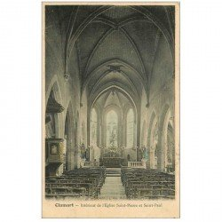 carte postale ancienne 92 CLAMART. Intérieur de l'Eglise Saint Pierre et Saint Paul 1905 colorisée. Petite coupure 1cm