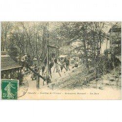 carte postale ancienne 92 CHAVILLE. Les Jeux au Restaurant Barraud Pavillon de l'Ursine 1911