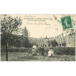 carte postale ancienne 92 CHATILLON. Saint Anne d'Auray côté Saint Vincent de Paul rue de Fontenay vers 1911