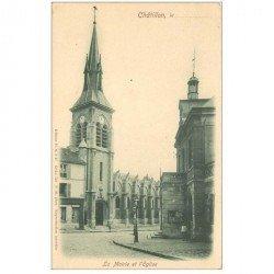 carte postale ancienne 92 CHATILLON. Mairie et Eglise vers 1900