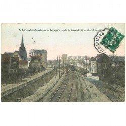 carte postale ancienne 92 BECON LES BRUYERES. Train dans la Gare vue du Pont des Couronnes 1908
