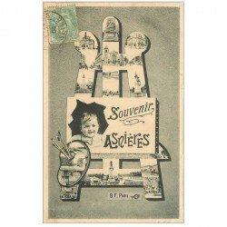 carte postale ancienne 92 ASNIERES SUR SEINE. Souvenir avec palette de peintures 1906 et chevalet