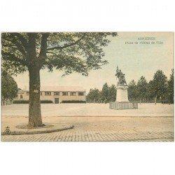 carte postale ancienne 92 ASNIERES SUR SEINE. Place Hôtel de Ville vers 1900