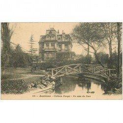 carte postale ancienne 92 ASNIERES SUR SEINE. Petit Pont de bois au Parc Château Pouget
