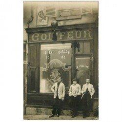 carte postale ancienne 94 ARCUEIL. Photo CP Coiffeur Tellier 37 rue Emile Raspail en 1906. Comme neuve malgré ses 110 ans